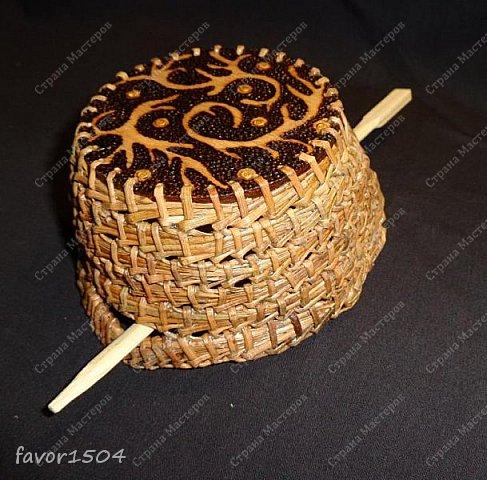 Вот такая заколка на гульку (пучок) из сосновой иглы безниточным плетением и выжигание на тонкой фанере... фото 2