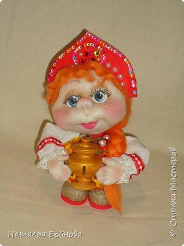 Кукла выполнена по мк  Е.Лаврентьевой.  Высота около 22 см. В руках - деревянный самовар фото 1