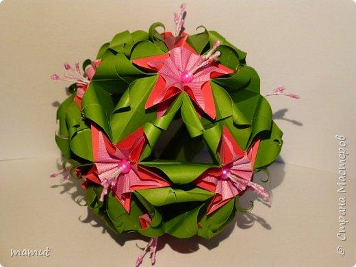 Впервые для украшения кусудамы использовала тычинки для создания цветов. В основе кусудама Наталии Романенко Sweet Spring фото 2