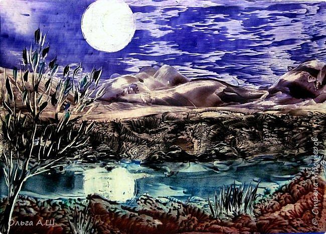 """""""Полная луна над холмом"""". А3 фото 3"""
