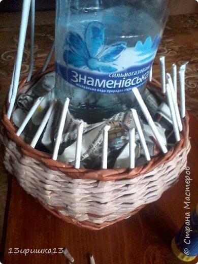 Сплела для себя напольную вазу)))) фото 4