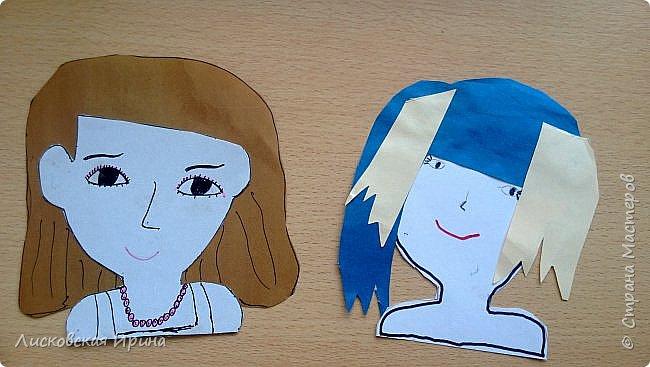 На занятии делали с детьми портреты из бумаги. Несколько вариантов формы лица, все выбирали на свой вкус. А прически получились разные. Здесь мои образцы. Идею увидела в интернете Pinterest фото 5