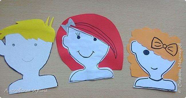 На занятии делали с детьми портреты из бумаги. Несколько вариантов формы лица, все выбирали на свой вкус. А прически получились разные. Здесь мои образцы. Идею увидела в интернете Pinterest фото 7
