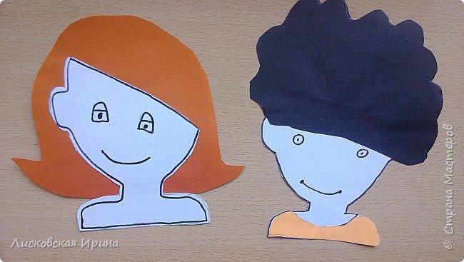 На занятии делали с детьми портреты из бумаги. Несколько вариантов формы лица, все выбирали на свой вкус. А прически получились разные. Здесь мои образцы. Идею увидела в интернете Pinterest фото 12