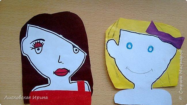 На занятии делали с детьми портреты из бумаги. Несколько вариантов формы лица, все выбирали на свой вкус. А прически получились разные. Здесь мои образцы. Идею увидела в интернете Pinterest фото 14