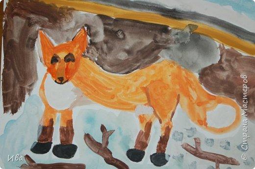 Рисовали образ лисы в разных сказках. Работали различными графическими материалами: мелки масляные, фломастеры. фото 7