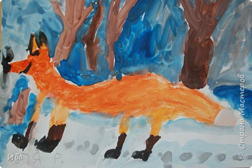 Рисовали образ лисы в разных сказках. Работали различными графическими материалами: мелки масляные, фломастеры. фото 9
