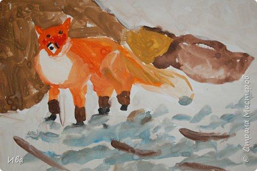 Рисовали образ лисы в разных сказках. Работали различными графическими материалами: мелки масляные, фломастеры. фото 10
