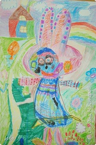 Образ зайца в различных образах рисовали с детьми с помощью графических материалов. Использовали фломастеры, маркеры , масляные мелки. фото 8