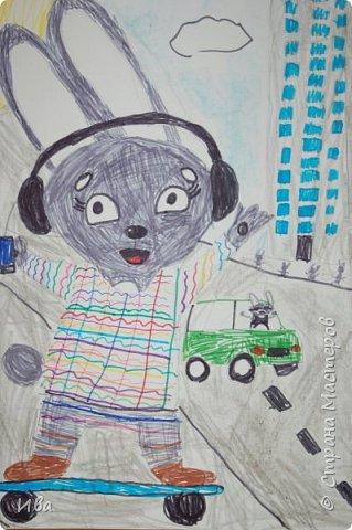 Образ зайца в различных образах рисовали с детьми с помощью графических материалов. Использовали фломастеры, маркеры , масляные мелки. фото 9