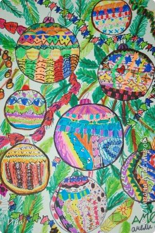 Новогодние шары . Дудлинг фото 2