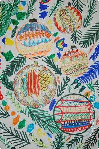 Новогодние шары . Дудлинг фото 10