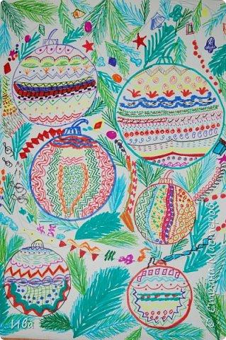 Новогодние шары . Дудлинг фото 1
