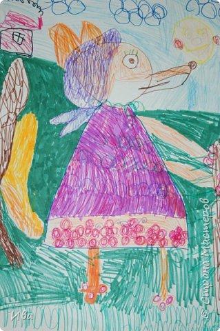 Рисовали образ лисы в разных сказках. Работали различными графическими материалами: мелки масляные, фломастеры. фото 6