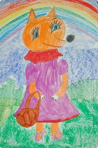 Рисовали образ лисы в разных сказках. Работали различными графическими материалами: мелки масляные, фломастеры. фото 2