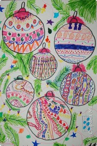 Новогодние шары . Дудлинг фото 8