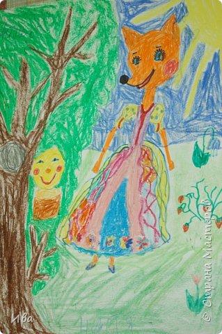 Рисовали образ лисы в разных сказках. Работали различными графическими материалами: мелки масляные, фломастеры. фото 4
