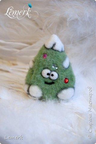Йолка. Валяная из шерсти забавная новогодняя ёлочка фото 3