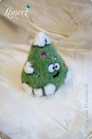 Йолка. Валяная из шерсти забавная новогодняя ёлочка фото 4