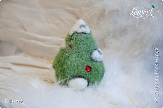 Йолка. Валяная из шерсти забавная новогодняя ёлочка фото 6
