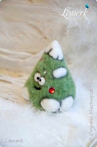 Йолка. Валяная из шерсти забавная новогодняя ёлочка фото 5
