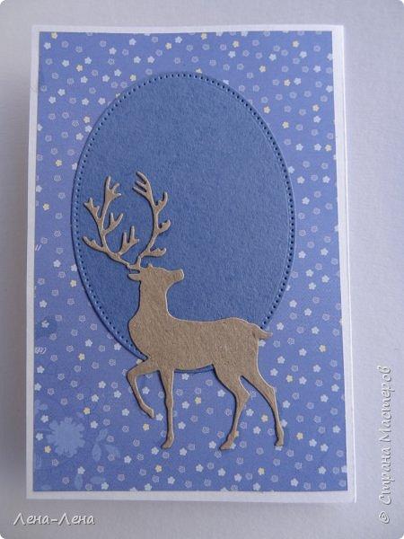 Ещё две открыточки с оленями к Новому году. Только теперь в цветном исполнении. Особо не мудрила, картинка - главное украшение.)) фото 6