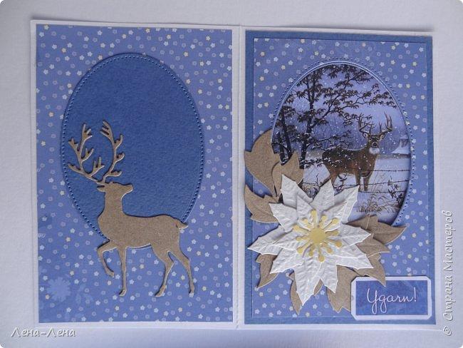 Ещё две открыточки с оленями к Новому году. Только теперь в цветном исполнении. Особо не мудрила, картинка - главное украшение.)) фото 7