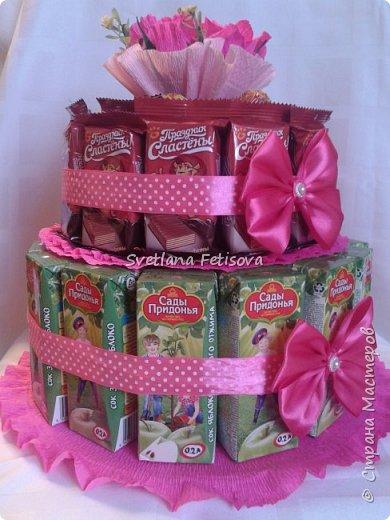 Добрый день СМ,вот на днях ожидается день рождение у племянницы ,как всегда гостинцы нужны и для школы,раньше это все носилось в коробках и пакетах,а на этот год решили всех удивить,я предложила сделать в виде тортика,вроде получилось хорошо,судите сами!!! фото 2