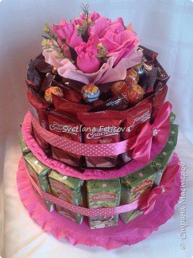 Добрый день СМ,вот на днях ожидается день рождение у племянницы ,как всегда гостинцы нужны и для школы,раньше это все носилось в коробках и пакетах,а на этот год решили всех удивить,я предложила сделать в виде тортика,вроде получилось хорошо,судите сами!!! фото 1
