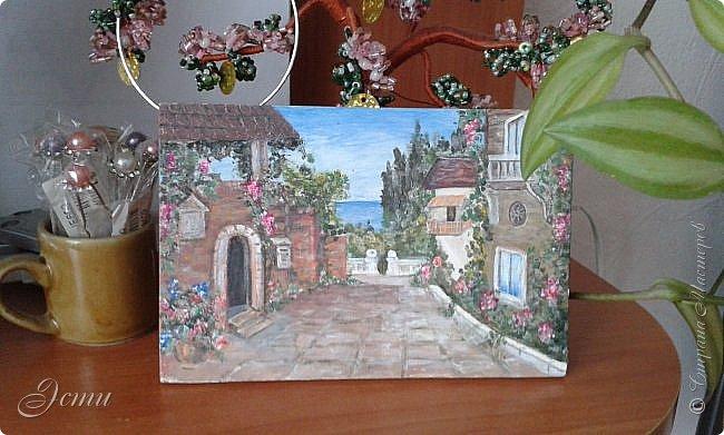 Нашла картинку в Интернете, причем - копию, как мне кажется, художника Сен Кима, но среди его работ именно такой итальянский дворик не нашла... хотя по стилю - похоже, что его. Так что, это у меня копия чьей-то копии в миниатюре))) фото 1