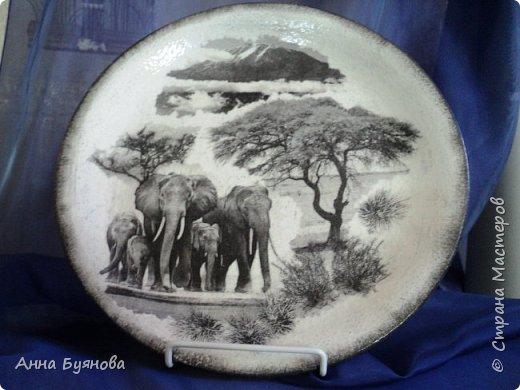 Подруга коллекционирует слонов. В подарок на ее день рождения сделала тарелочку со слонами. фото 1