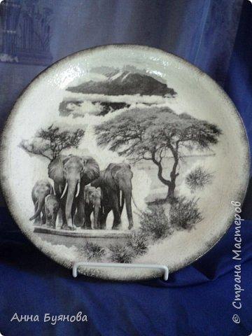 Подруга коллекционирует слонов. В подарок на ее день рождения сделала тарелочку со слонами. фото 2