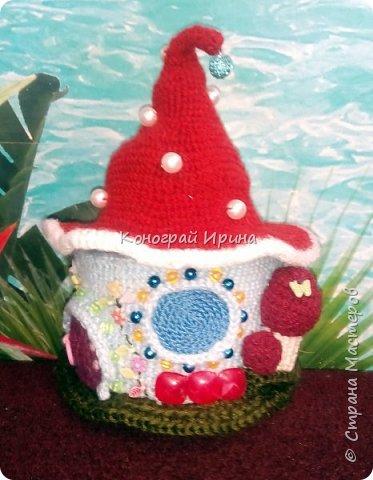 На создание этого домика меня вдохновило вязание грелки на чайник Высота домика 18см, диаметр 12см. Мой сынок использует его в качестве домика для своих маленьких игрушек. :) фото 9