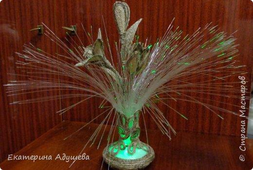 Светильник ваза с цветами. Светильник был куплен в фикс прайсе и оформлен джутовым канатом. фото 1