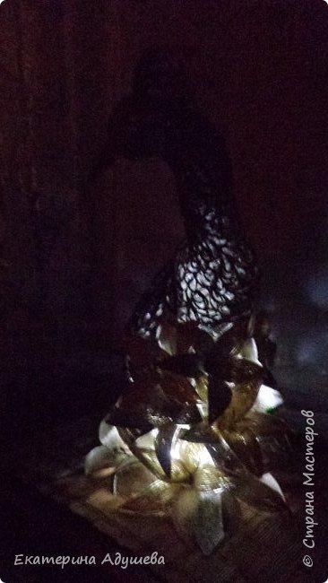 Жар-Птица в технике джутовая филигрань.  Два месяца работы и птица готова, на оформление 773 стразы , высота 46 см. фото 8