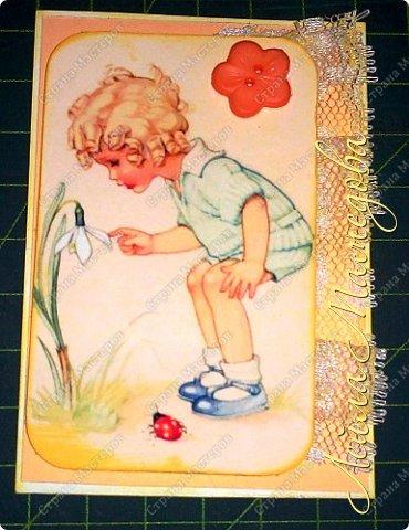 """Моя серия """"Детские Радости""""  по совместнику  http://stranamasterov.ru/node/1055187?c=favorite . Для меня в детстве самой большой радостью было ЛЕТО. Кружево под картинкой немного подкрасила желтой краской,имитирую солнечные лучи. фото 2"""