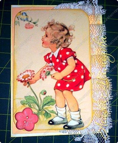 """Моя серия """"Детские Радости""""  по совместнику  http://stranamasterov.ru/node/1055187?c=favorite . Для меня в детстве самой большой радостью было ЛЕТО. Кружево под картинкой немного подкрасила желтой краской,имитирую солнечные лучи. фото 3"""