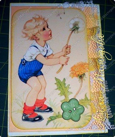 """Моя серия """"Детские Радости""""  по совместнику  http://stranamasterov.ru/node/1055187?c=favorite . Для меня в детстве самой большой радостью было ЛЕТО. Кружево под картинкой немного подкрасила желтой краской,имитирую солнечные лучи. фото 6"""