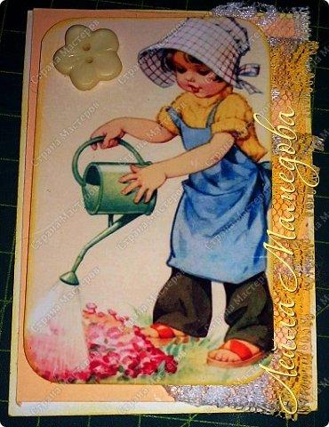 """Моя серия """"Детские Радости""""  по совместнику  http://stranamasterov.ru/node/1055187?c=favorite . Для меня в детстве самой большой радостью было ЛЕТО. Кружево под картинкой немного подкрасила желтой краской,имитирую солнечные лучи. фото 7"""