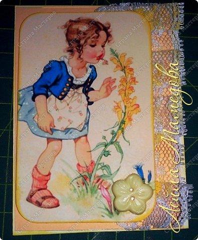 """Моя серия """"Детские Радости""""  по совместнику  http://stranamasterov.ru/node/1055187?c=favorite . Для меня в детстве самой большой радостью было ЛЕТО. Кружево под картинкой немного подкрасила желтой краской,имитирую солнечные лучи. фото 8"""