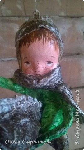 Елочная игрушка из ватного папье-маше. Коллекция малышей и малышек. Ванечка на коне. фото 1