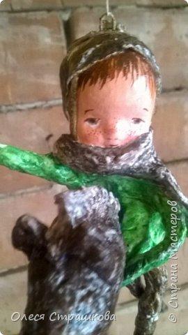 Елочная игрушка из ватного папье-маше. Коллекция малышей и малышек. Ванечка на коне. фото 4