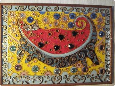 """Кот-арбуз. Размер 31х43см. Оргалит, стекло, гуашь, контур золотистый по стеклу, стеклянные камушки. Вдохновитель из Страны Мастеров """"Ихтиандра"""" Кот-арбуз http://stranamasterov.ru/node/462421?c=favorite фото 12"""