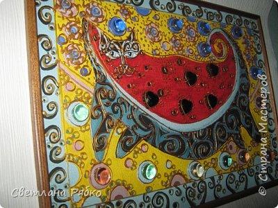 """Кот-арбуз. Размер 31х43см. Оргалит, стекло, гуашь, контур золотистый по стеклу, стеклянные камушки. Вдохновитель из Страны Мастеров """"Ихтиандра"""" Кот-арбуз http://stranamasterov.ru/node/462421?c=favorite фото 14"""