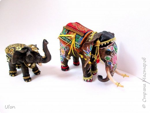 малышка индияночка. Слоник - на счастье! Полностью ручная работа, полимерная глина, высота слона 17см, куколка 7см. фото 5