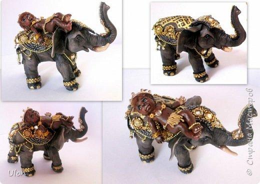малышка индияночка. Слоник - на счастье! Полностью ручная работа, полимерная глина, высота слона 17см, куколка 7см. фото 4