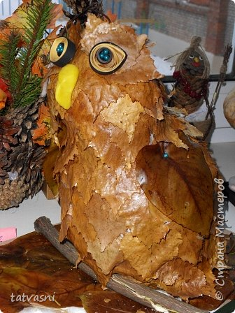Такую сову мы сделали с внуком для выставки.  фото 9
