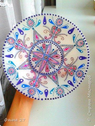 Точечная роспись тарелки обычной гуашью без контура, моя первая работа))) фото 2