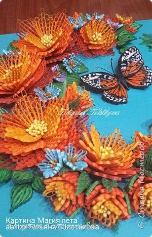 """Представляю свою новую работу """"Магия лета"""". На создание этой картины меня снова вдохновила работа Надежды http://stranamasterov.ru/user/365018, но к сожалению, она пока не выставила ее здесь, но думаю очень скоро ее покажет. Идея больших цветов взята именно с ее работы, и я в очередной раз хочу выразить Надежде огромною благодарность! Ну, а теперь желаю вам приятного просмотра. фото 4"""