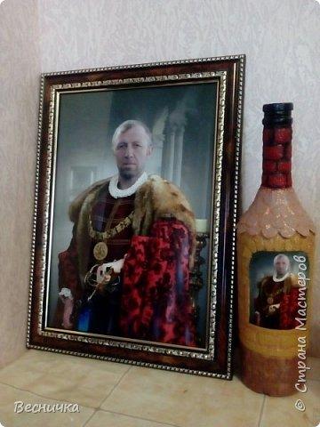 Вот так попробовала задекорировать бутылку по мастер - классу http://stranamasterov.ru/node/153839?c=favorite Делала в подарок брату мужа на День рождения.  фото 3